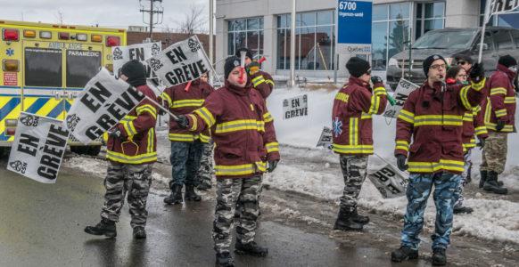 Secteur préhospitalier, en grève ! | Montréal | Photo : Michel Giroux
