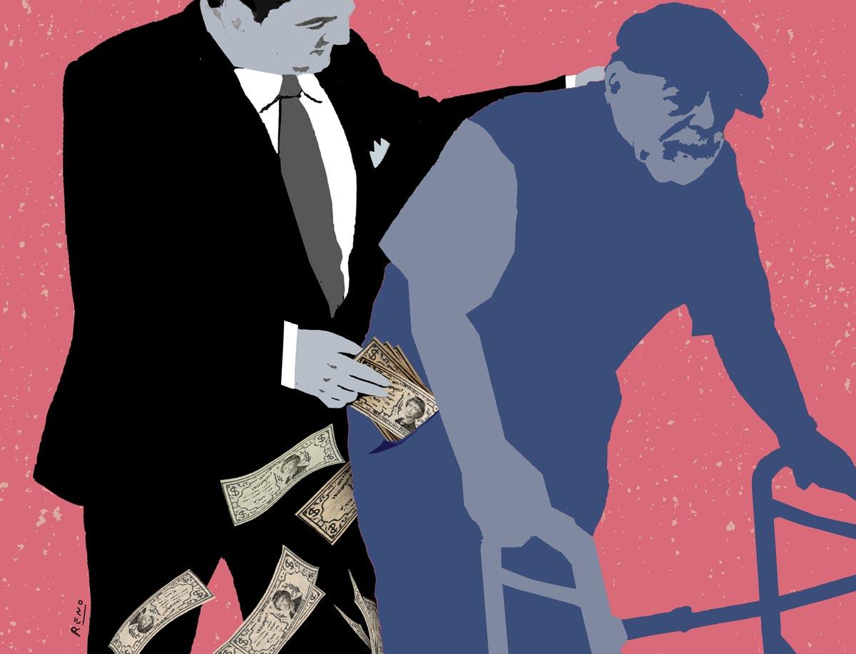 Illustration d'un homme d'affaire qui vole de l'argent des poches d'un ainé
