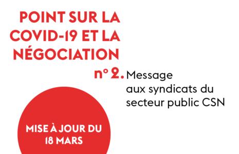 Message aux syndicats du secteur public : Mise à jour du 18 mars