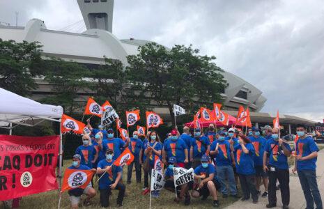 Les syndiqué-es CSN du Parc olympique sont en grève aujourd'hui!