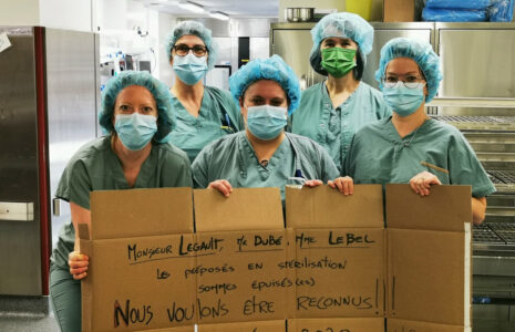 Les préposé-es en retraitement des dispositifs médicaux en colère face au manque de reconnaissance du gouvernement