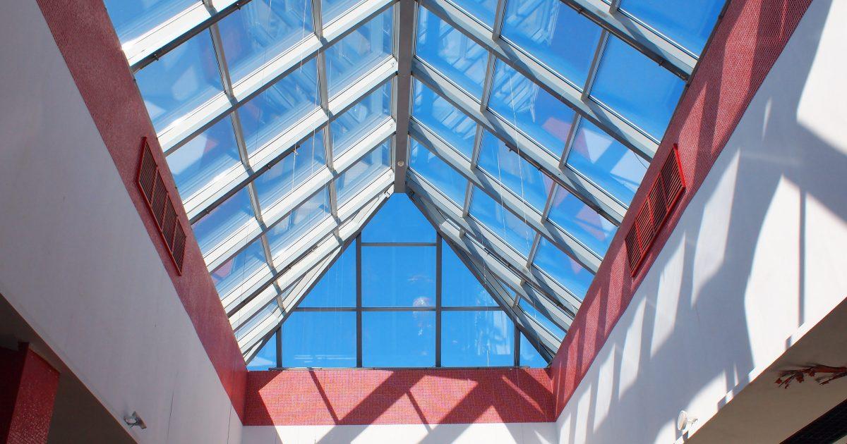 Upward view on the triangular glass roof