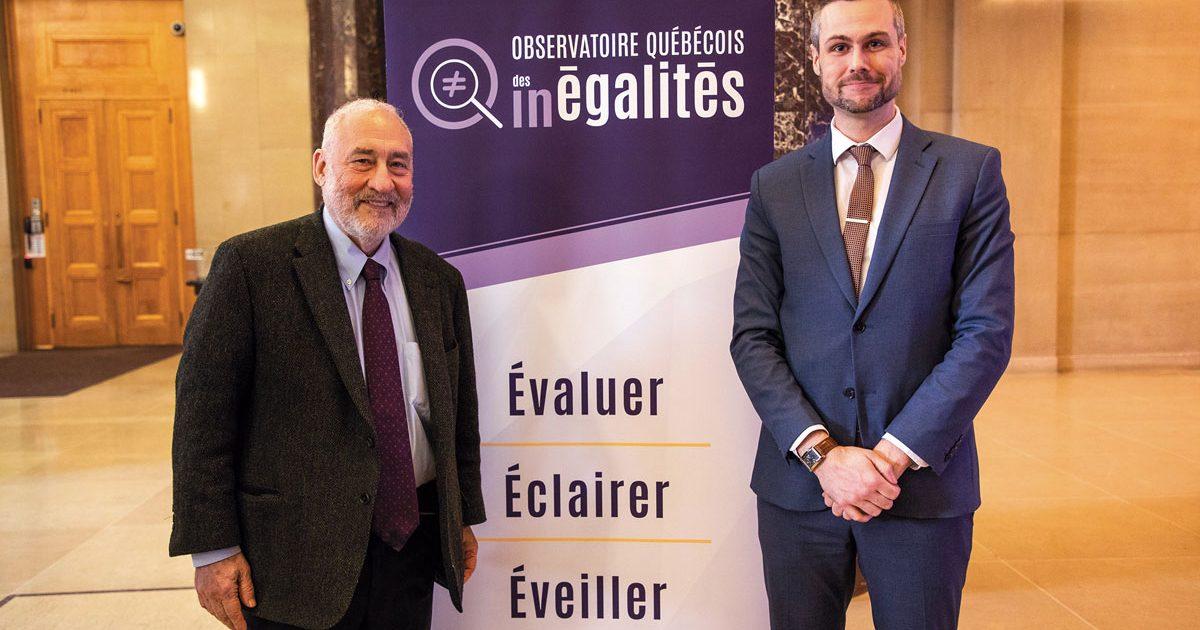Le prix Nobel d'économie 2001, Joseph Stiglitz, en compagnie du directeur général de l'Observatoire, Nicolas Zorn. // Photo : , Julie Soto, OIT