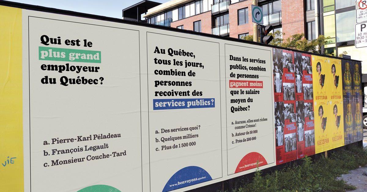 Affichage extérieure de la campagne benvoyons.quebec