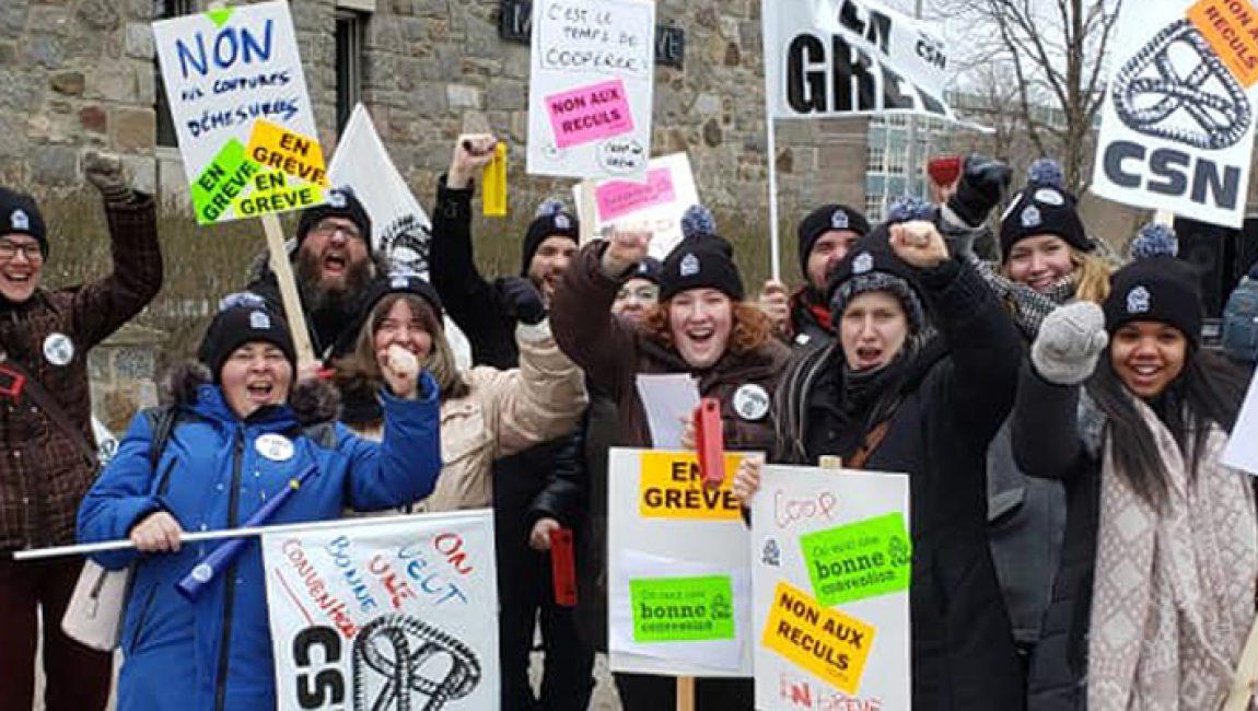 Des grèves à l'extérieur du Collège Maisonneuve