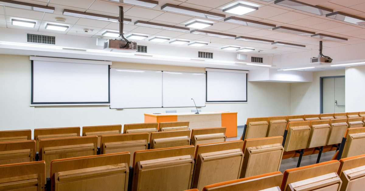 Auditorium where bright minds are studying