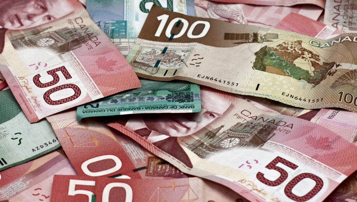 Backgroun made of canadian money