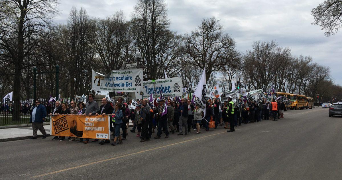 Des syndicats du STS manifestent à Québec en ce 15 mai 2018.